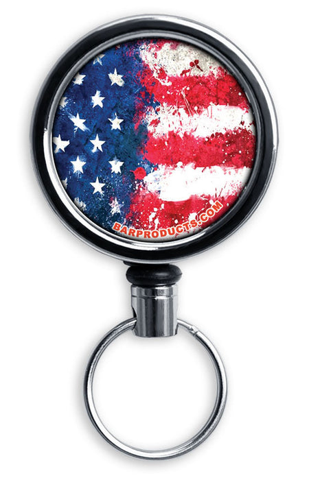 Mirrored Chrome Retractable Reel ONLY – Grunge US Flag