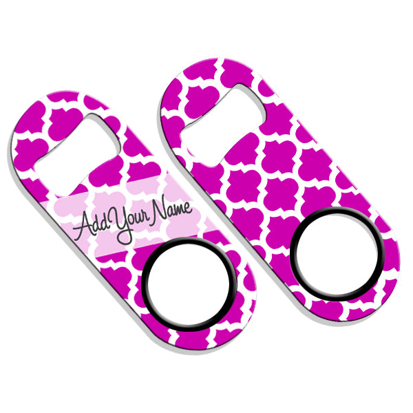 ADD YOUR NAME Mini Bottle Opener – Moroccan Patterns- Pink