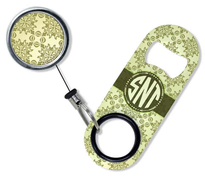 CUSTOMIZABLE Mini Bottle Opener with Retractable Reel - Vintage Design 3