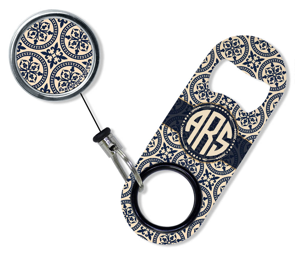 CUSTOMIZABLE Mini Bottle Opener with Retractable Reel - Vintage Design 6