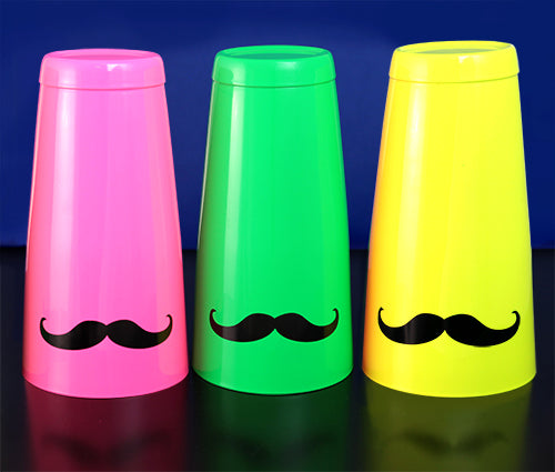 Mustache Cocktail Shaker Tins - All NEON Colors