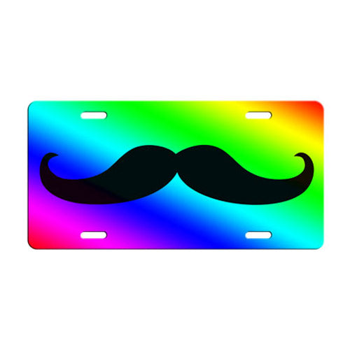 Mustache Themed License Plates - Rainbow