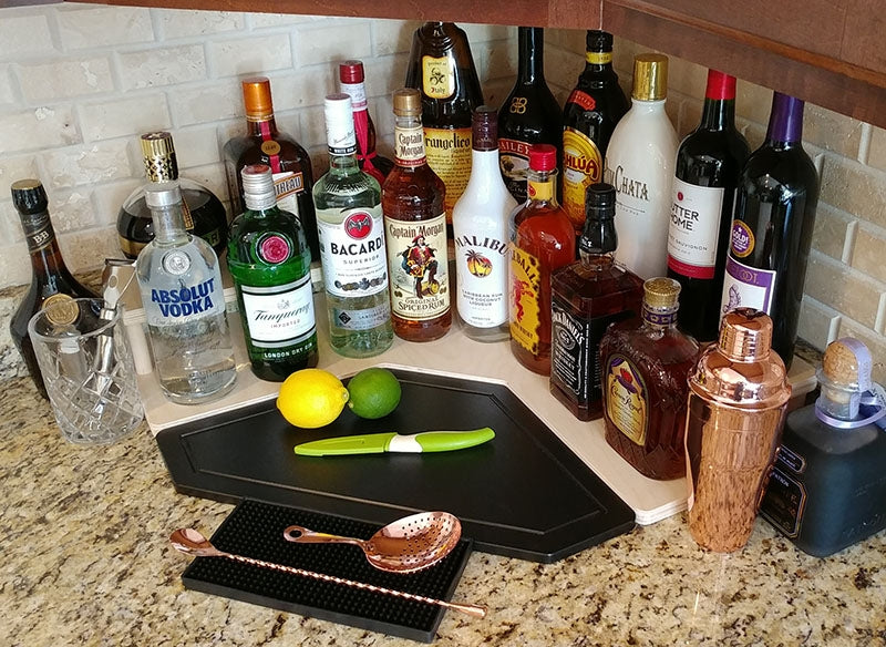 Counter Caddies™ - NATURAL Corner - Liquor/Wine Bottle Display