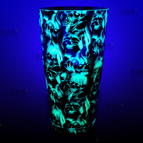 Neon Green Evil cocktail Shaker tin glows under a black light!