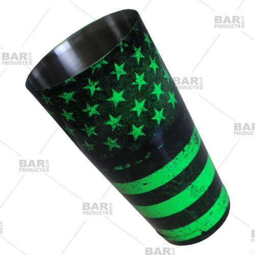 Neon green cocktail shaker - grungy united states flag