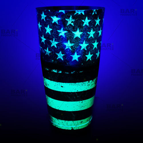 Neon green flag shaker design glows under a black light