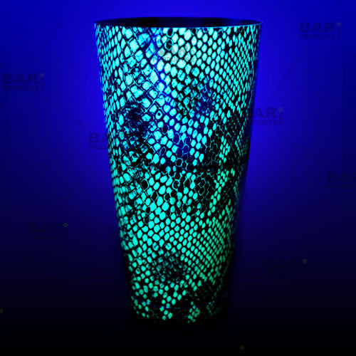 Neon Green Snake Skin Cocktail shaker glows under a blacklight!