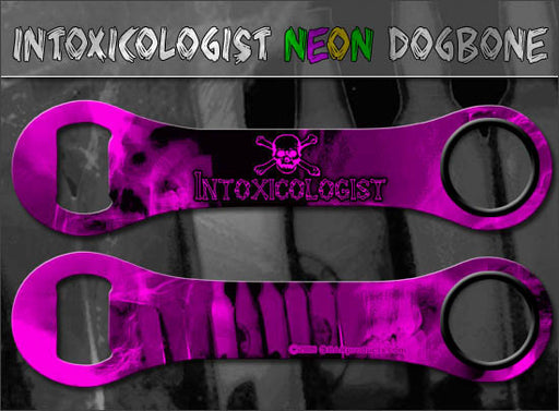Dog Bone Bottle Opener / Bar Key - Neon Intoxicologist - Color Options