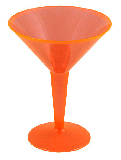 Plastic Martini Cups - Neon 8 ounce w/ Color Options - Pack of 10