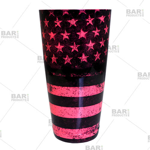 Neon pink cocktail shaker - grungy united states flag