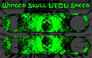 Speed Bottle Opener / Bar Key - Winged Skulls - Green