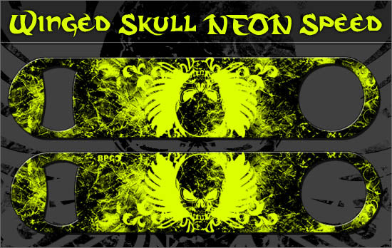 Speed Bottle Opener / Bar Key - Winged Skulls - Yellow