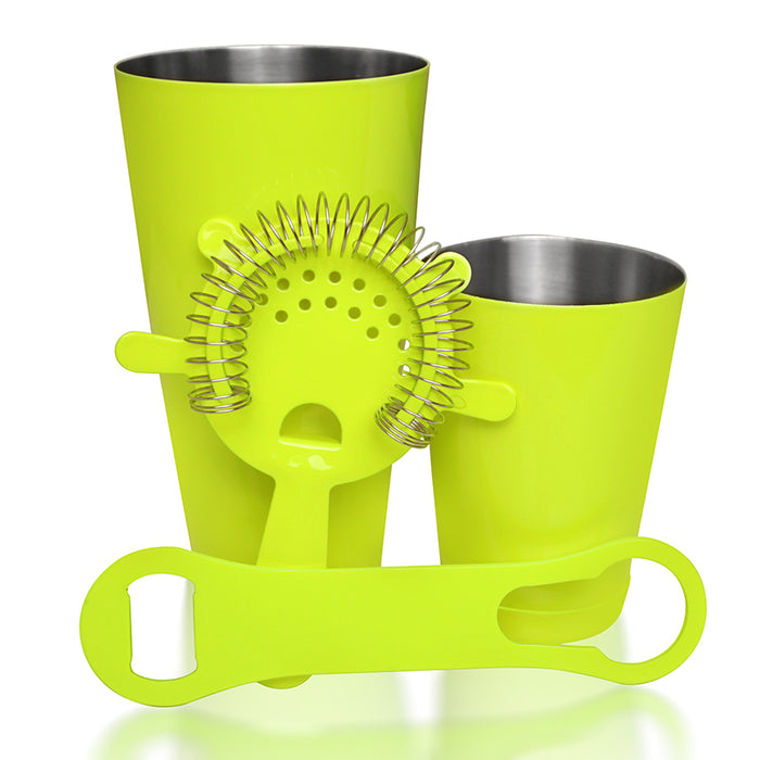 4 Piece NEON YELLOW Cocktail Package with V-Rod® Bottle Opener