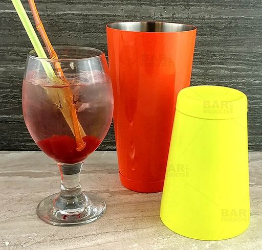 BarConic® Cocktail Shaker Set - 28oz / 18oz Weighted Tins - Neon Orange / Neon Yellow