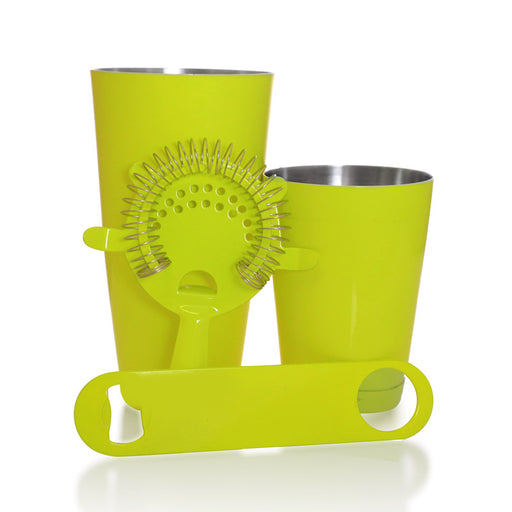 Bartending Set w/ Speed Opener - Neon Yellow - 4 Piece