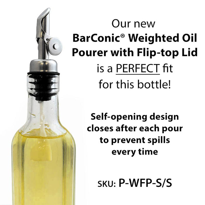 BarConic® Antique Oil and Vinegar Square Glass Bottle - 16oz