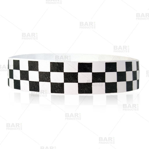Paper Wristbands - Black / White Checkered - Box of 500