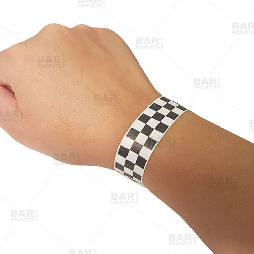 Disposable Wristbands - Black / White Checkered
