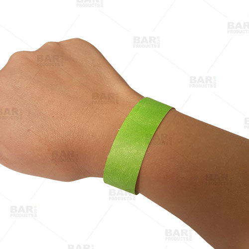 Disposable Paper Wristbands - Neon Green