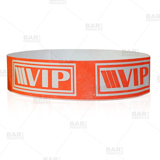 Paper Wristbands - NEON Red / White VIP - Box of 500