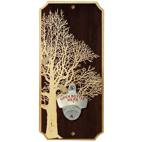 Oak Bird - Wall Mounted Wood Plaque Bottle Opener