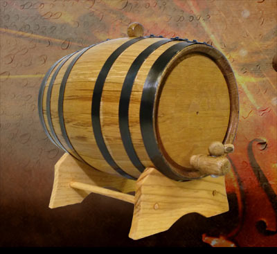 Oak Barrel with Black Hoops