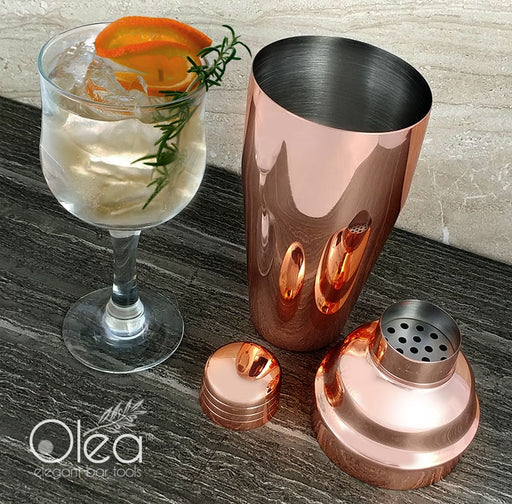 Olea™ 3-Piece Cocktail Shaker Deluxe - Copper Plated - 24 ounce