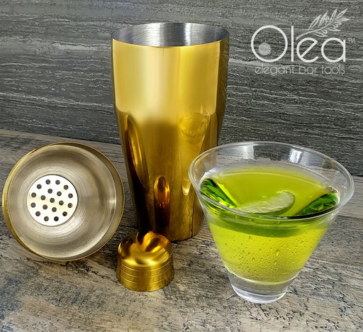 Olea™ 3-Piece Cocktail Shaker Deluxe - Gold Plated - 24 ounce