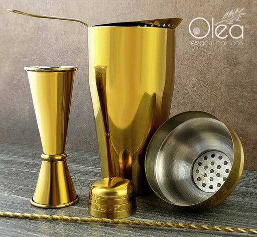 Olea™ Bar Set - Gold Plated - 4 Piece (Bar Spoon Tip Option)