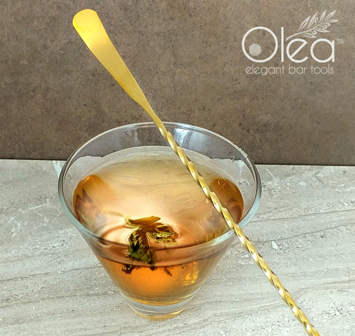 Olea™ Gold Plated Bar Spoon - Bent Tip - 40cm Length