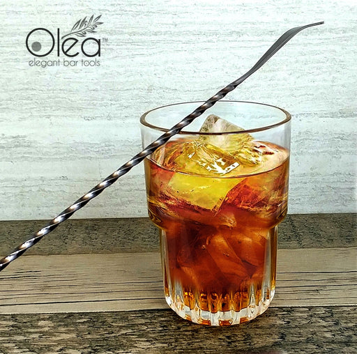 Olea™ Gunmetal Plated Bar Spoon - Bent Tip - 40cm Length