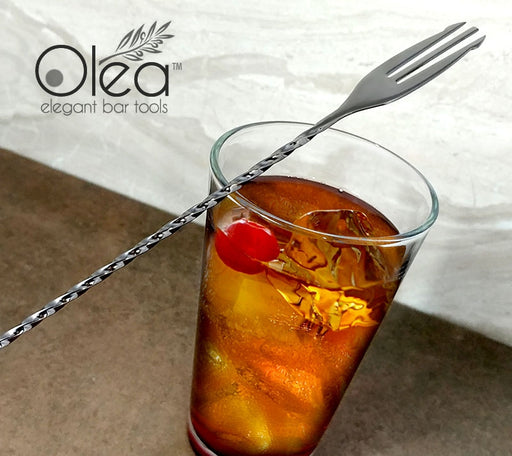 Olea™ Gunmetal Plated Bar Spoon - Trident Fork Tip - 40cm Length