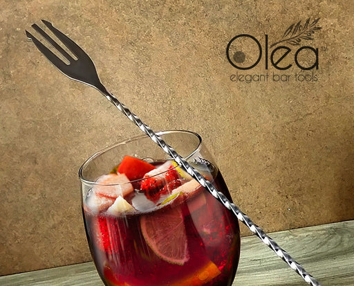 Olea™ Gunmetal Plated Bar Spoon - Trident Fork Tip - 50cm Length