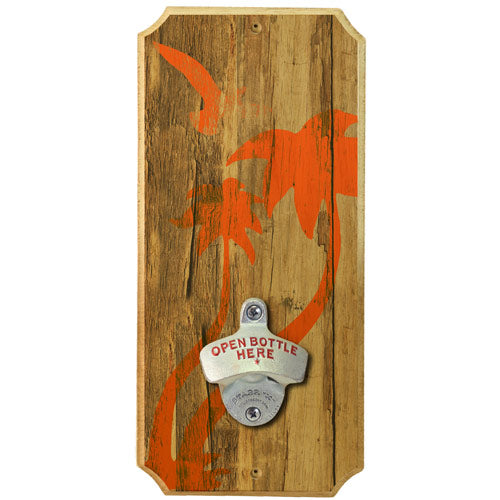 Palm Tree Bird - Wall Mounted Wood Plaque Bottle Opener