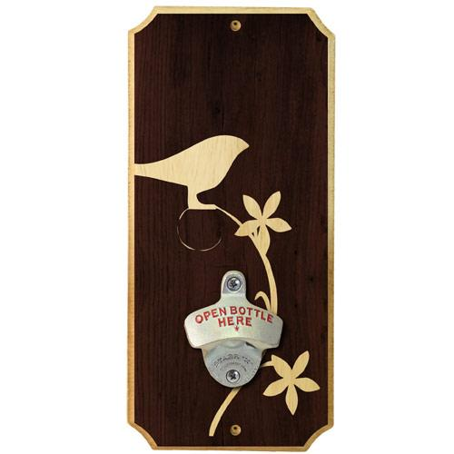 Simple Bird - Wall Mounted Wood Plaque Bottle Opener