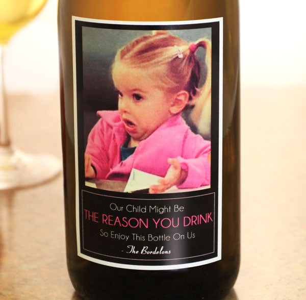 Add Your Name The Reason You Drink Wine Label - Small