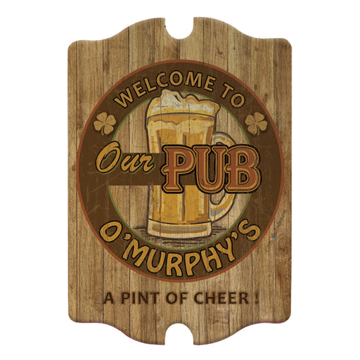 Custom Tavern Shaped Wood Bar Sign - Our Pub