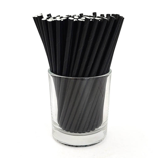 "BarConic® Paper Straws - Eco Friendly - 5 3/4"" Solid Black - 100 Pack"