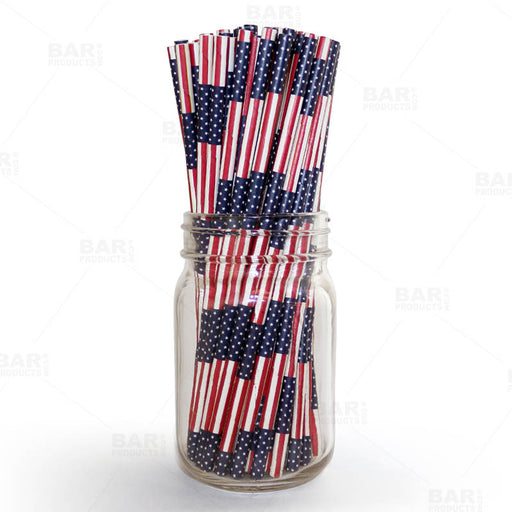 "BarConic® ""Eco-Friendly"" Paper Straws - 7 3/4"" USA Flag - Packs of 100"