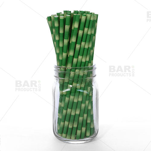 BarConic® Eco-Friendly Paper Straws - Bamboo - 100 pack