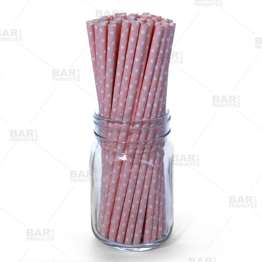 BarConic® Eco-Friendly Paper Straws - Pink Dot - 100 pack