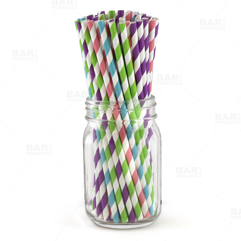 BarConic® Eco-Friendly Paper Straws - Striped Assorted Colors - Pack of 100