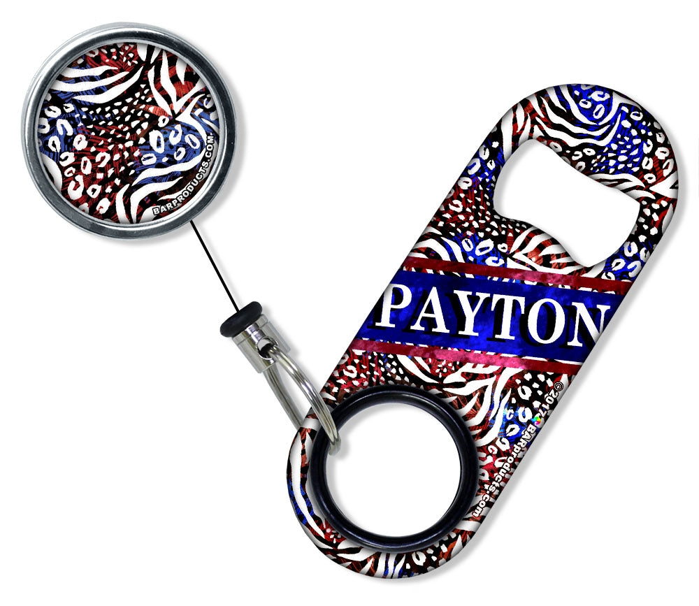 CUSTOMIZABLE Mini Bottle Opener with Retractable Reel - Patriotic Cheetah