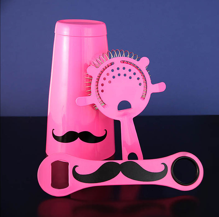 Mustache Bar Set - 3 Pieces - Neon Pink