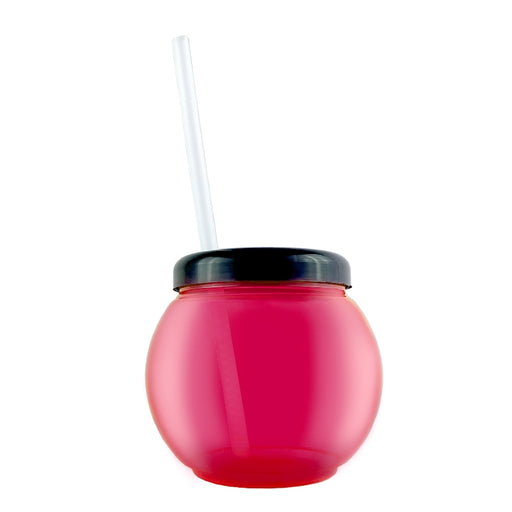 BarConic® Pink Fishbowl Plastic Drinkware - 20 ounce -  With Lid and Straw