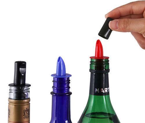Liquor Pourers - Plastic w/ Dust Cap - Packs of 12 - Color Options