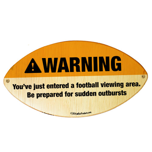 WARNING - Football Shaped Wall Plaque