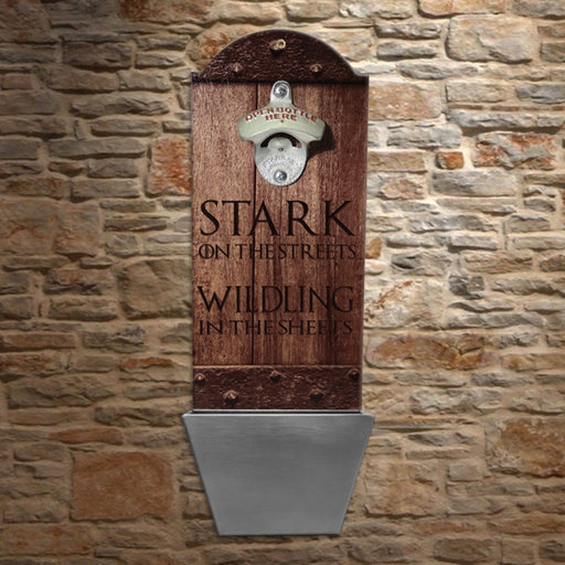 Stark on the Streets... Wooden Bottle Opener with Cap Catcher