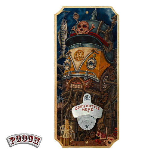 Brewbot - Wood Plaque Wall Mounted Bottle Opener