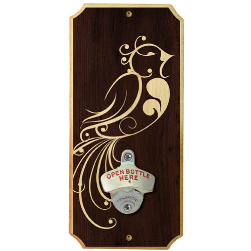 Pretty Bird - Wall Mounted Wood Plaque Bottle Opener